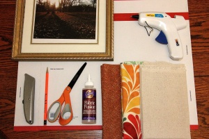 Supplies for DIY Fabric Picture Frame Mat Tutorial. The Life of B