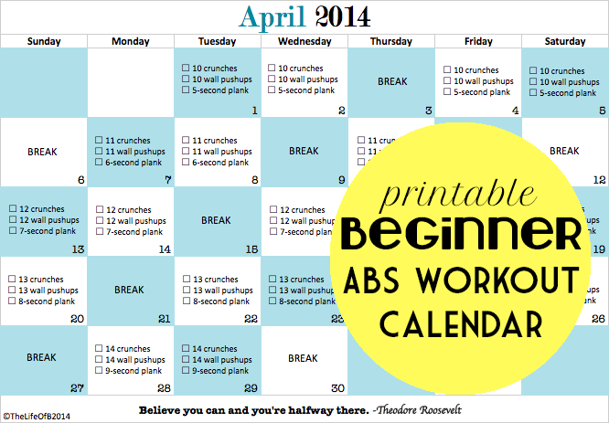 April Abs - Beginner Abs Printable Workout Calendar. Crunch Challenge Month One | The Life Of B