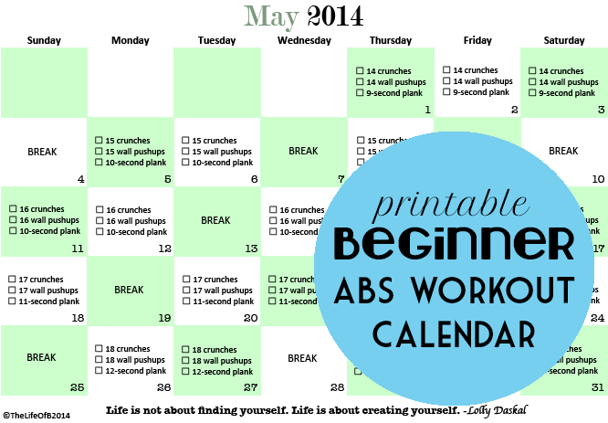 graphic about Printable Workout Calendar named Might Ab muscles Printable Newbie Work out Calendar