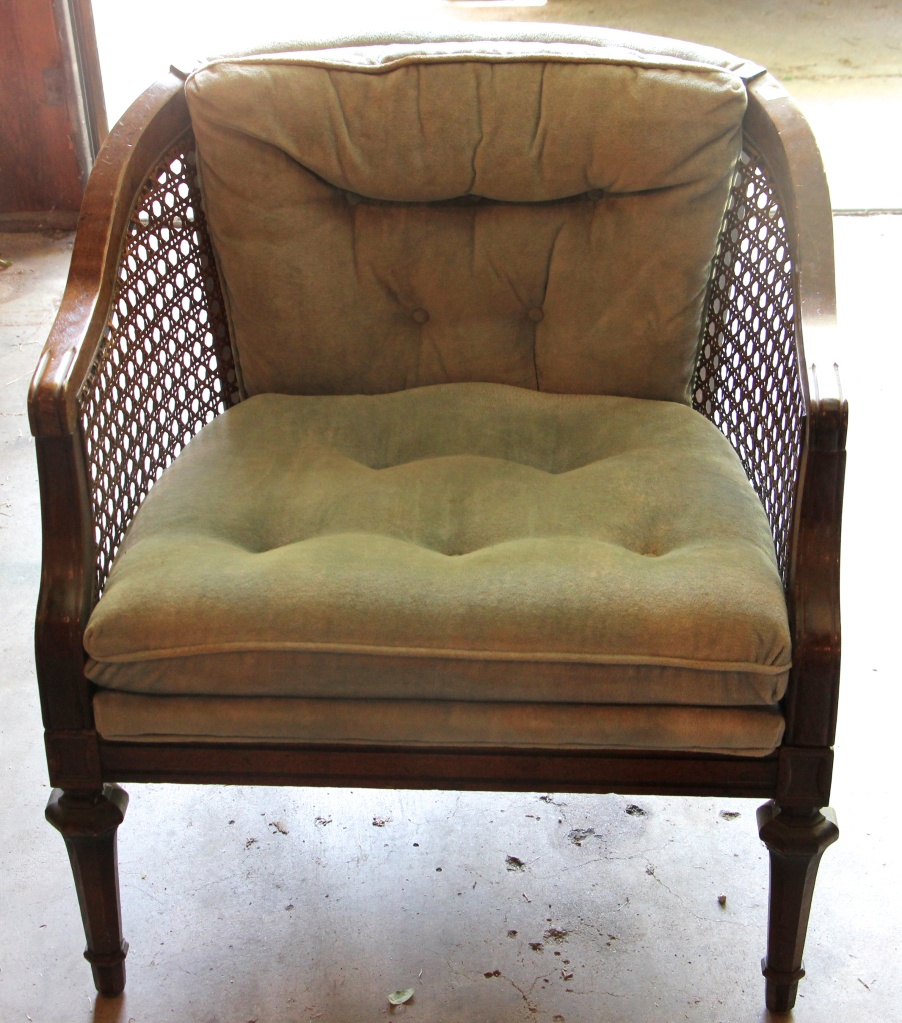 Mid-Century Modern Cane Blue Velvet Tufted Club Arm Chair