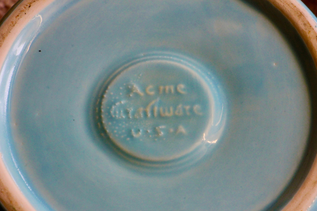 Acme Craftware USA blue lidded ceramic jug jar